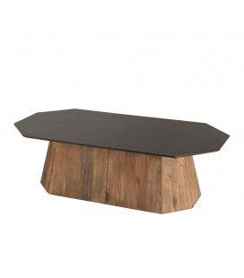 Table basse octogonale bois Pin recyclé et contreplaqué PACORA