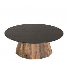 Table basse ronde bois Pin recyclé et contreplaqué PACORA