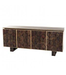Buffet bois Manguier 177x45cm 4 portes 2 étagères Katmandou KADAPA