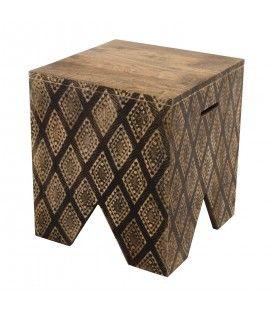 Tabouret carré bois Manguier 40x40cm Ko-Mak KADAPA