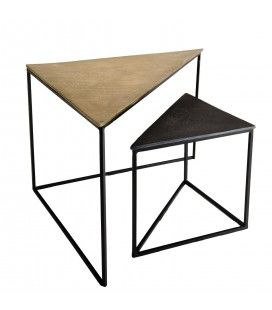 Set de 2 tables gigognes triangles aluminium doré et noir - pieds métal DODOMA