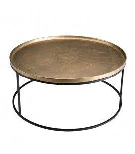 Table basse ronde 88x88cm aluminium doré pieds ronds métal DODOMA