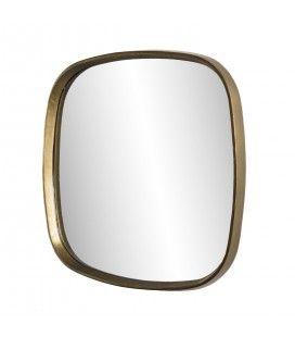 Miroir 69x70cm coins arrondis aluminium doré DODOMA