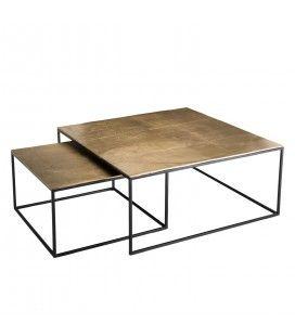 Set de 2 tables gigognes carrées aluminium doré - pieds métal DODOMA
