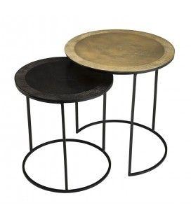 Set de 2 tables d'appoint gigognes rondes aluminium doré et noir - pieds ronds métal DODOMA