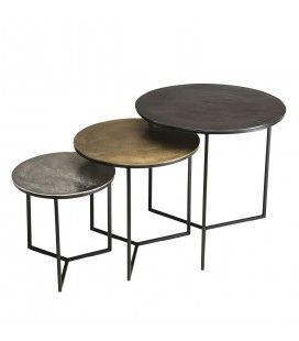 Set de 3 tables gigognes rondes aluminium noir doré argenté - pieds métal DODOMA