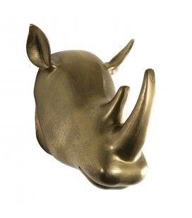 Déco murale sculpture rhinoceros aluminium doré DODOMA