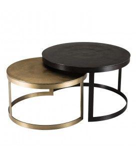 Set de 2 tables gigognes ceinturées rondes aluminium noir doré pieds métal demi-cercle DODOMA