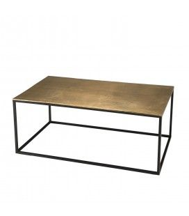 Table basse rectangulaire 98x57cm aluminium doré DODOMA