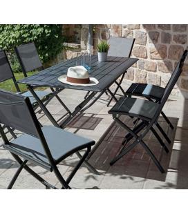 Table pliante grise + 6 chaises pliantes GWENN