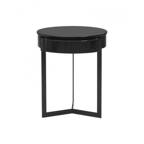 Table de nuit chevet laqué noir blanc ou gris - Fabry