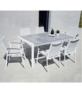 Table de jardin + 6 chaises empilables aluminium LÉNA