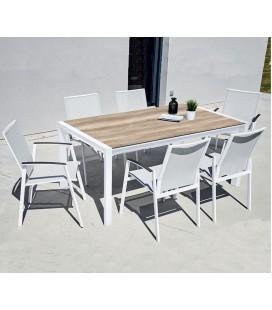 Table de jardin + 6 chaises empilables chêne clair LÉNA