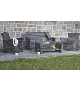 Salon de jardin résine tressée gris foncé 4 places + table basse Brazil