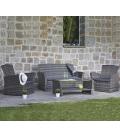 Salon de jardin résine tressée 4 places + table basse Lerins
