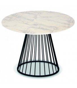 Table à manger ronde bois décor marbre et pieds noirs