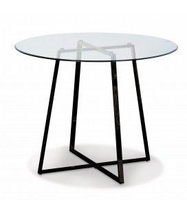 Table ronde en verre avec pieds en métal noir Francky
