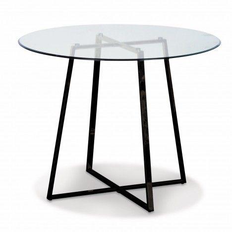 Table ronde en verre avec pieds en métal chromé or