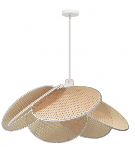 Grande suspension Evasion cannage naturel ganse blanche D75cm