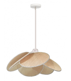 Grande suspension Evasion cannage naturel ganse blanche D50cm