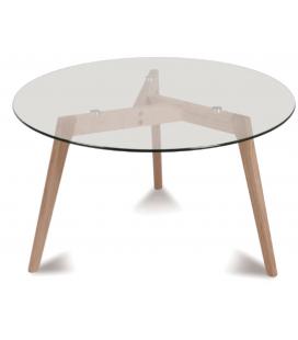 Table de repas ronde scandinave verre et bois de chêne Fiorda 100cm -