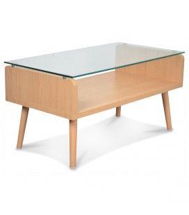 Table basse en verre et bois Eleonor -