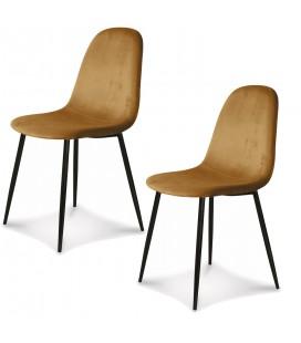 Chaise Josef pieds noirs velours kraft - Set de 2 -