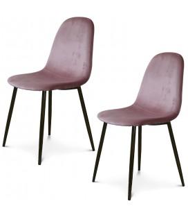 Chaise Josef pieds noirs velours rose - Lot de 2