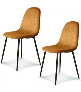 Chaise Josef pieds noirs velours indie - Set de 2