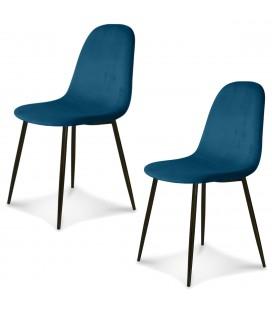 Chaise Josef pieds noirs velours bleu saxo - Set de 2 -