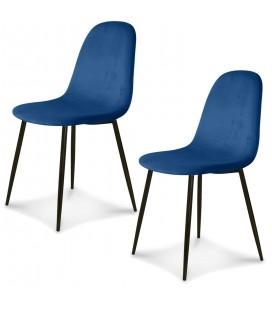 Chaise Josef pieds noirs velours cobalt - Lot de 2