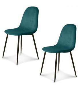 Chaise Josef pieds noirs velours vert menthe - Set de 2 -