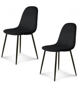 Chaise Josef pieds noirs velours noir - Lot de 2