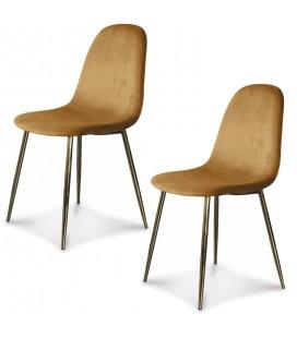 Chaise Josef pieds dorés velours kraft - Set de 2 -