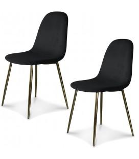 Chaise josef pieds dorés velours noir - Lot de 2 -