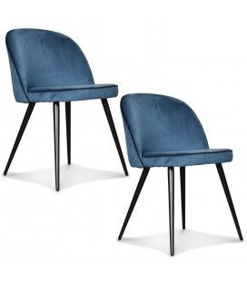 Chaise Ingrid bleu canard ganse noire - Set de 2 -