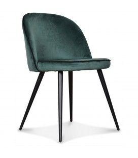 Chaise Ingrid vert menthe ganse noire - Lot de 2
