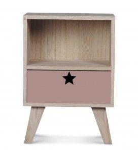 Chevet en bois design scandinave 1 tiroir rose poudre Étoile