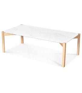 Table basse pieds chêne naturel et plateau effet marbre 100cm -