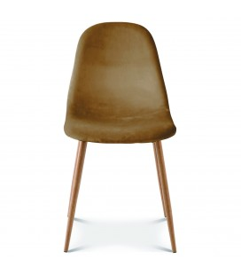 Chaise josef pieds bois velours kraft - Set de 2