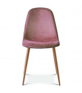 Chaise josef pieds bois velours rose - Lot de 2 -