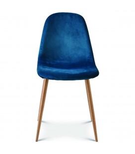 Chaise josef pieds bois velours bleu saxo - Set de 2 -