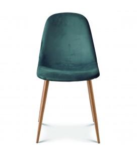 Chaise josef pieds bois velours bleu cobalt - Lot de 2 -