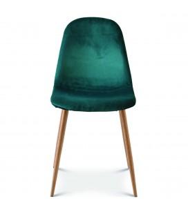 Chaise josef pieds bois velours vert menthe - Set de 2 -