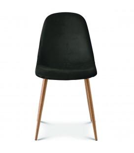Chaise josef pieds bois velours noir - Lot de 2 -
