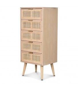 Semainier meuble 5 tiroirs rotin naturel 60cm