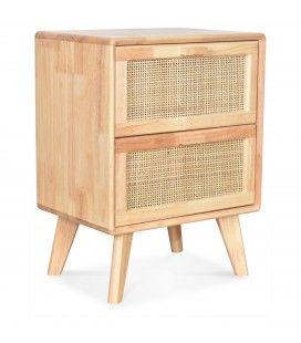 Chevet bois clair 2 tiroirs avec cannage Emile 40cm