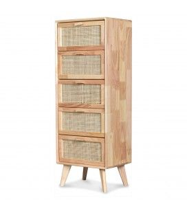 Semainier 5 tiroirs cannage bois clair Emile H110cm -