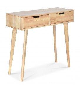 Bureau console 2 tiroirs bois clair naturel Hevy