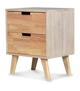 Chevet 2 tiroirs bois clair naturel Hevy